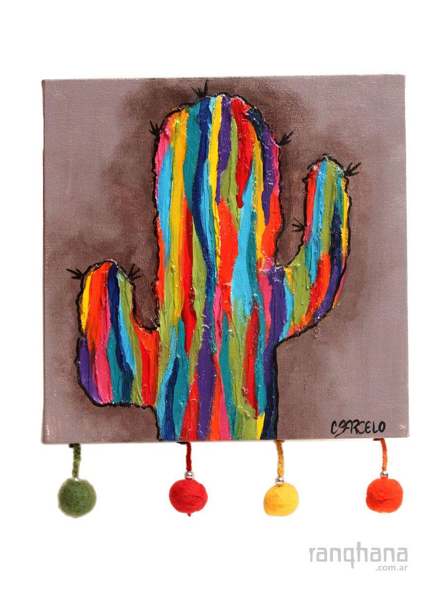Cuadro Cactus Pintado A Mano Arte Con Cactus Cuadros Pintados A