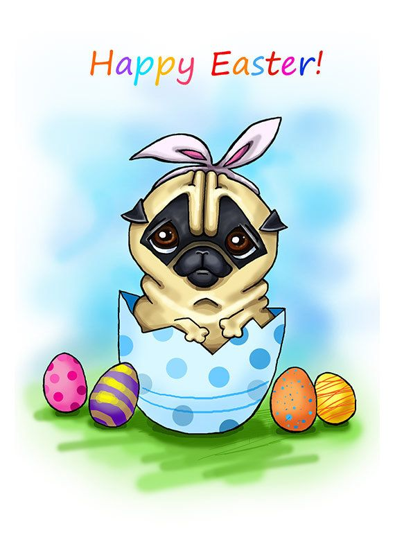 Funny Easter Card With Pug Printable Greeting Card Instant Download 5 X 7 Quot Jpg File Happy Easter Funny Sketch Drawing