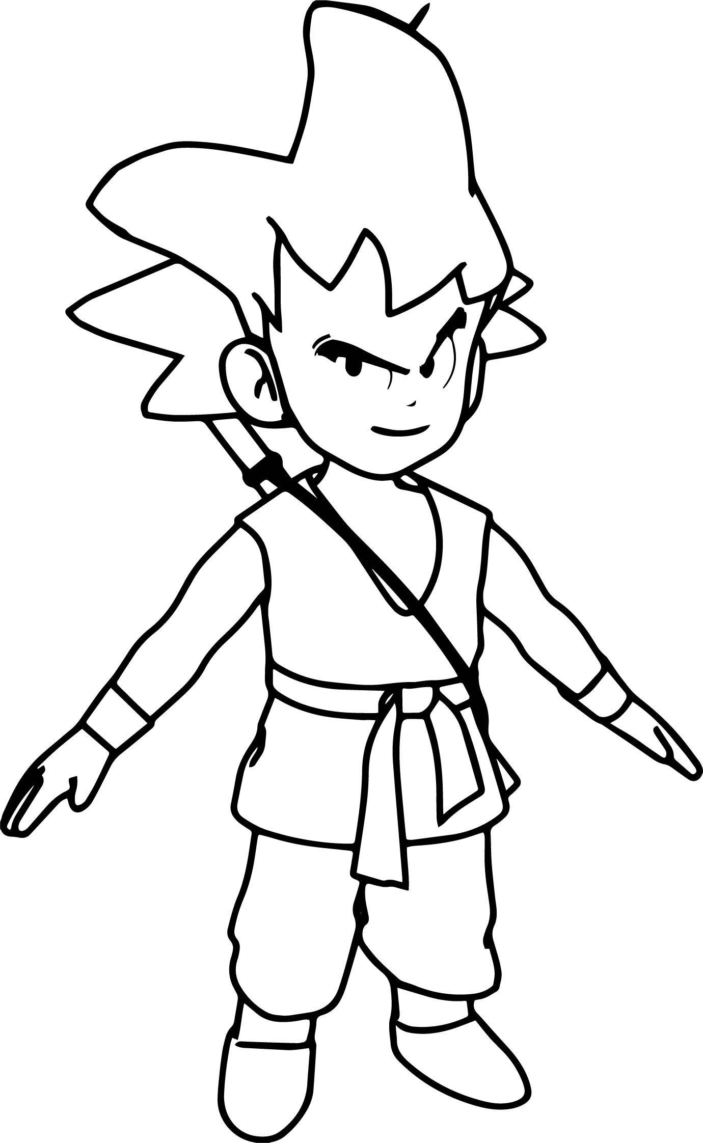 Cool Goku Manga Anime Cartoon Character Coloring Page