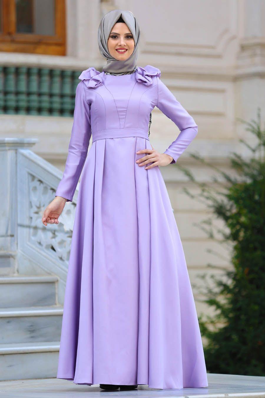 Tuay Omuzlari Buzgulu Tafta Lila Tesettur Abiye Elbise 2406lila Tesetturisland Com Elbise The Dress Moda Stilleri