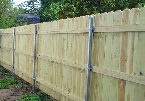 Commercial Dog Ear Style Wood Privacy Fence With Steel Posts