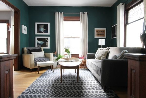 Teal Living Room Design Ideas Teal Wall Color Gray Carpet Gray Sofa White Curtains Teal Living Rooms Dark Teal Living Room Teal Rooms