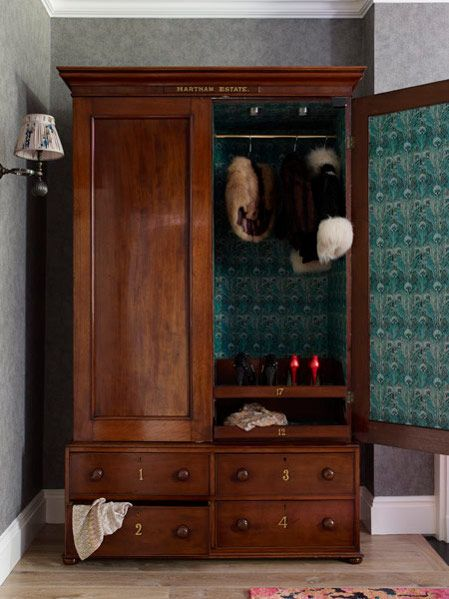 Antique Armoire Lined In Printed Cotton By Violet George