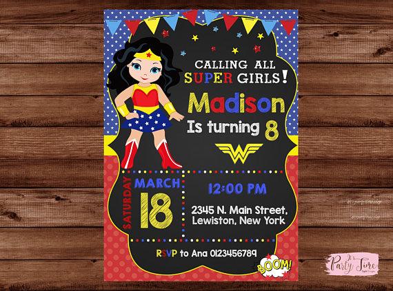 Wonder Woman Invitation Wonder Woman Party Invitation
