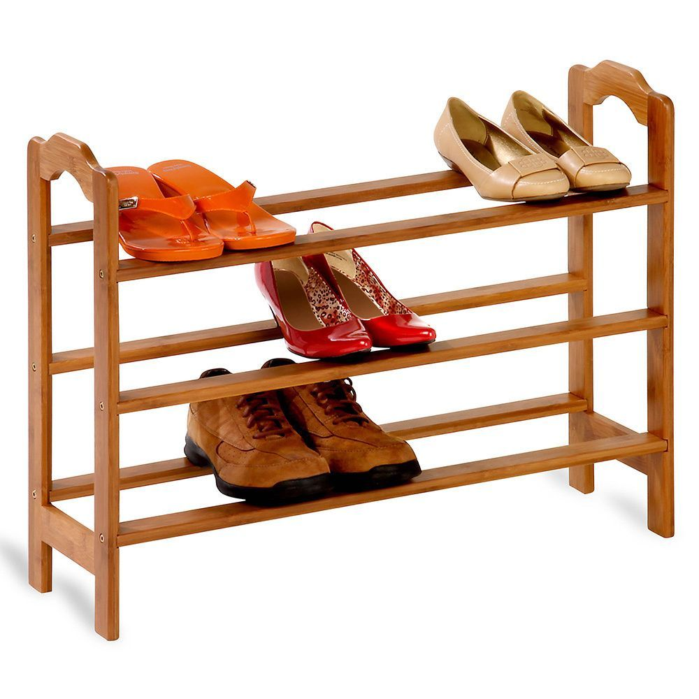 This three tier shoe rack creates more space in closets and around