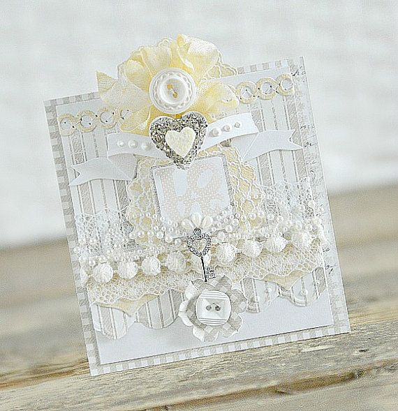 Handmade vintage shabby chic greeting card love - Vintage and chic love ...
