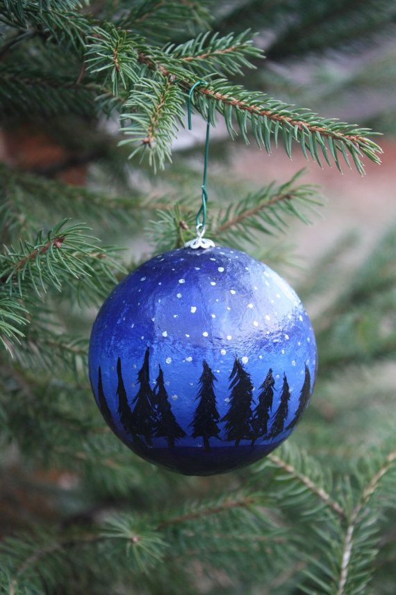 Hand painted christmas ornament by roseymorris on etsy for Glass christmas ornaments to paint