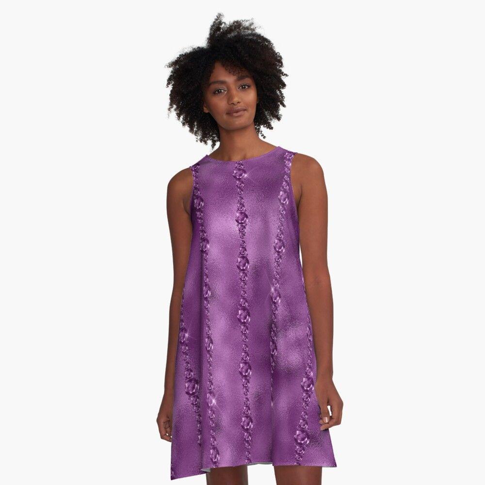 Purple Bling Beads Pattern Amethyst A Line Dress By Blingmosaic A Line Dress Fashion Fashion Outfits [ 1000 x 1000 Pixel ]