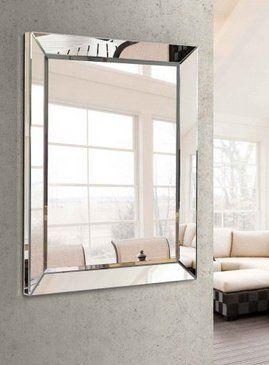 Espejo rectangular de cristal herrajes para ventanas de for Espejos rectangulares horizontales