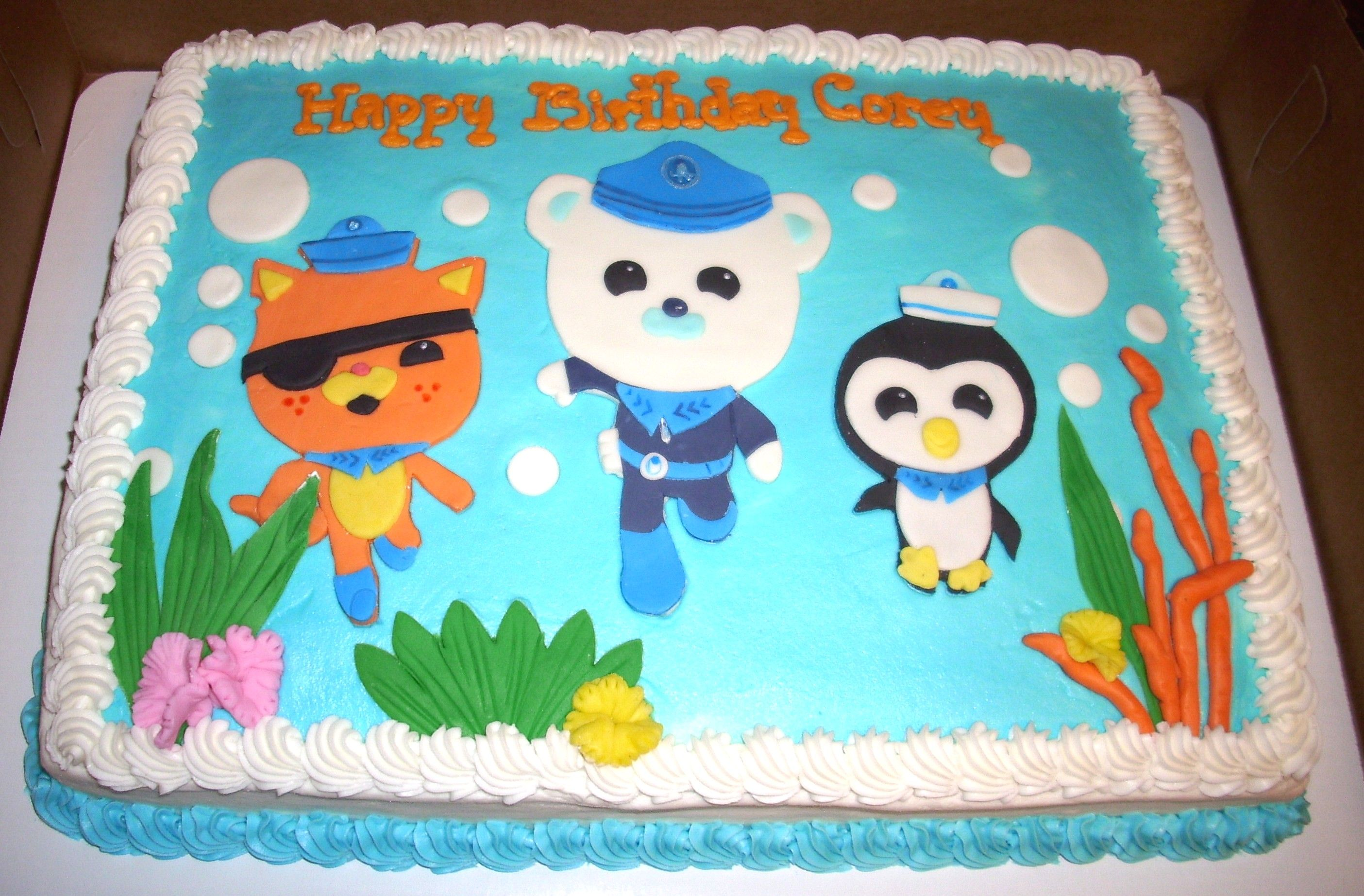Cool Octonauts Sheet Cake Buttercream Icing With Mmf Figures Funny Birthday Cards Online Alyptdamsfinfo