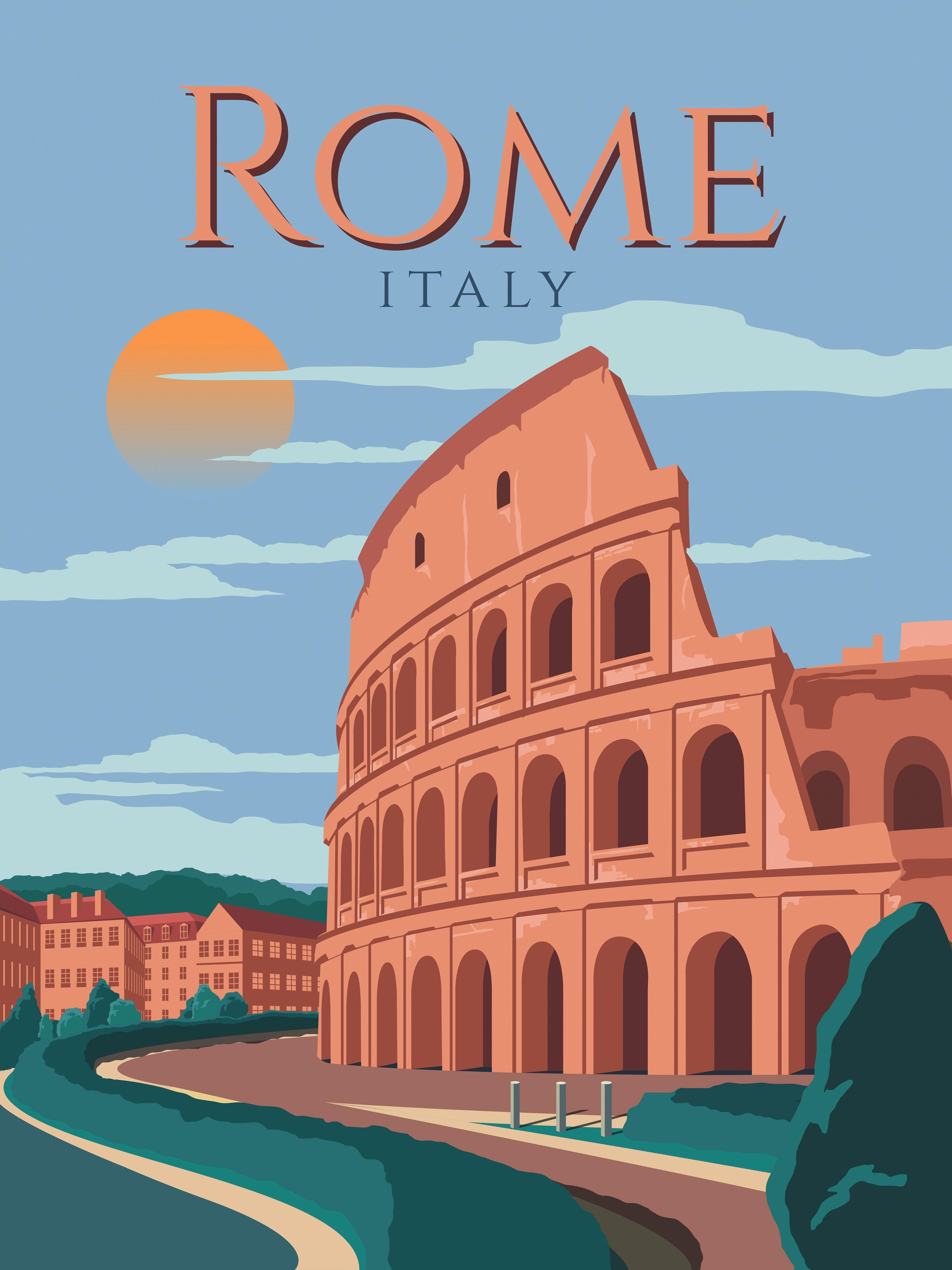 Rome Travel Poster Wall Art Vintage Retro Print Italy Map Painting Retro Travel Poster Vintage Travel Posters Travel Posters