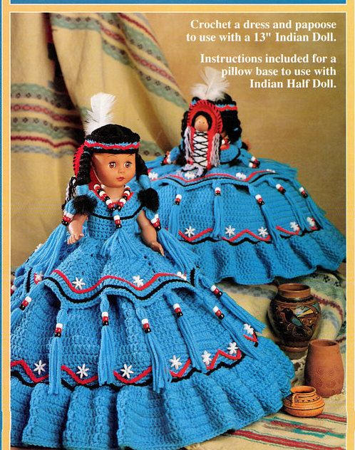 Vintage Crochet Pattern Cactus Flower Indian Princess Pillow or Bed Doll Outfit Dress PDF Instant Digital Download Papoose 13 Doll Outfit #instructionstodollpatterns