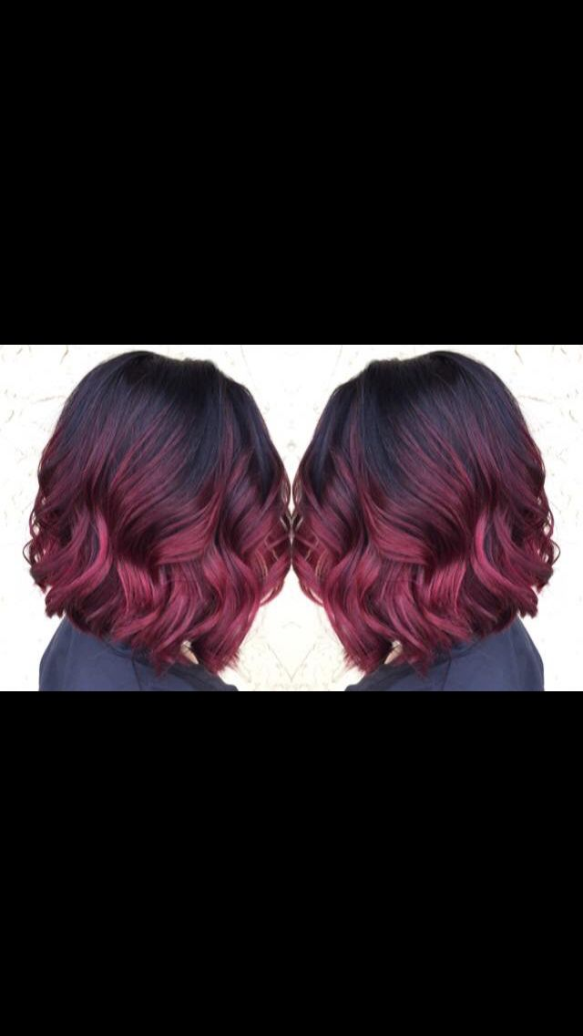 Burgundy Red Violet Ombre Burgundy Hair Hair Styles Red Ombre Hair