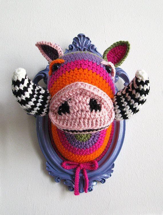 Crochet boar head in a wooden light purple frame by ManafkaMina, $120.00