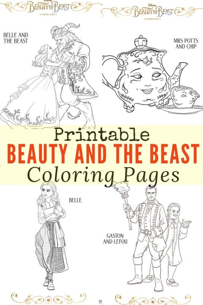 Printable Beauty and the Beast Coloring Pages Craft Disney