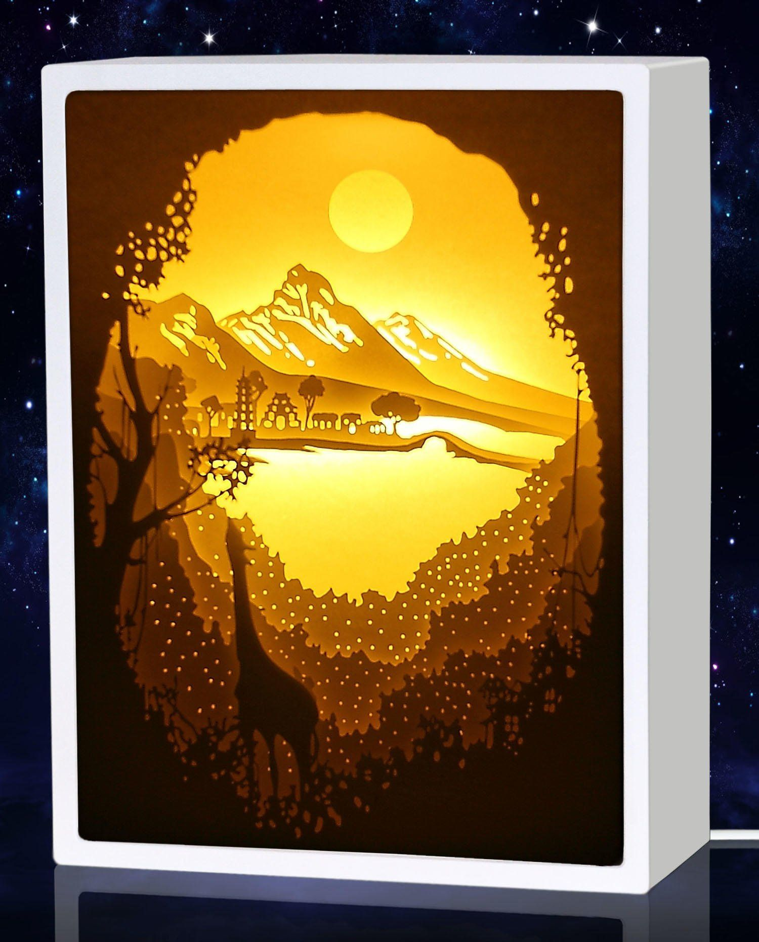 decorsmart papercut light boxes giraffe and shangri la night
