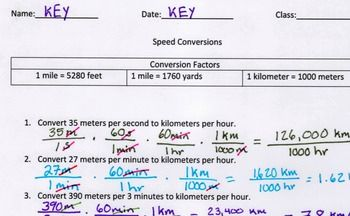 Speed conversions for metric and US measurements. Great for teaching conversions or dimensional analysis. The key has each problem's answer along with associated work.