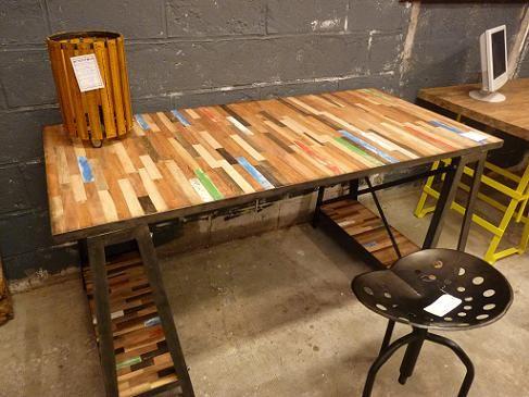 bureau factory teck recyclmtal 2 tailles architeck meubles en teck dim l 160 x p 80 x h 80 cm brut 555 finition 89