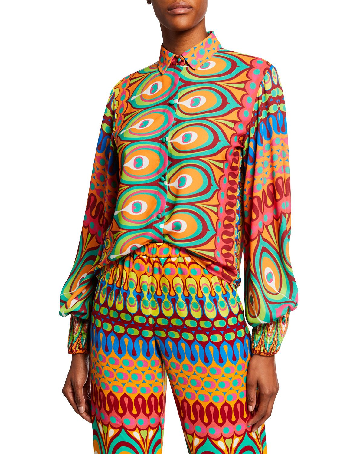 Kaito Printed Button Front Long Sleeve Top In 2020 Long Sleeve