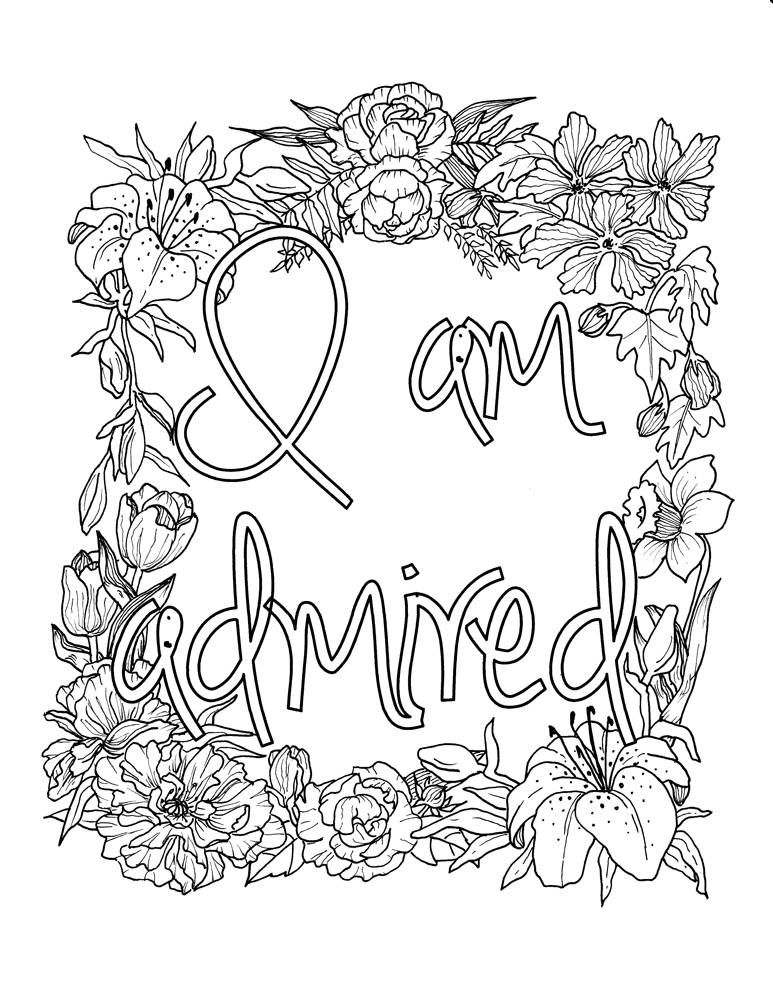 I Am Admired Self-Affirmation Adult Coloring Page Coloring ...