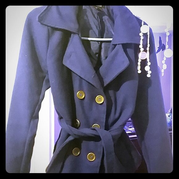Blue coat Deep blue coat button up, really cute. Has a string also around the waist which is removable. Great condition and no stains Jackets & Coats