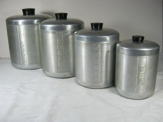 vintage kitchen canister set vintage aluminum canisters set 4 retro 50s kitchen by 22585