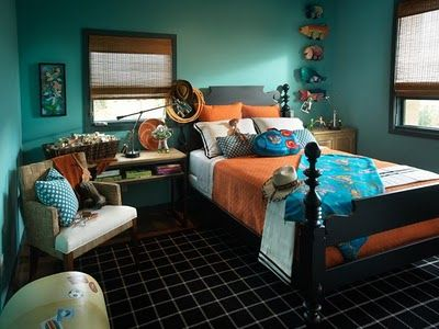 a boy\'s bedroom in teal/turquoise and orange   Home bedroom ...