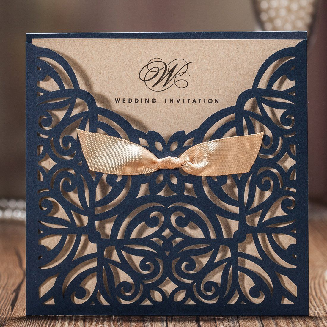 Wishmade Navy Blue Square Laser Cut Wedding Invitations Cards With
