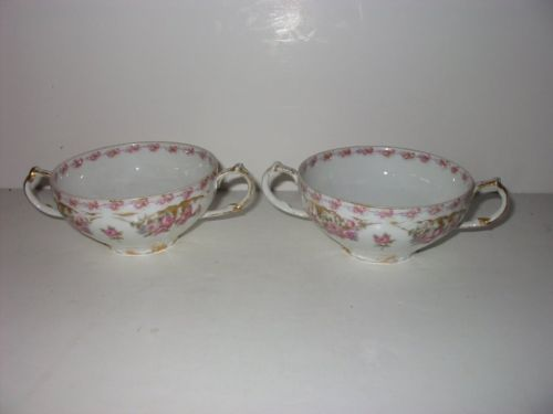 2 GDA  Limoges Cream Soup Pink Flowers