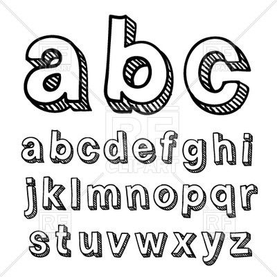 Simple Typography Alphabet Hand Drawn Font