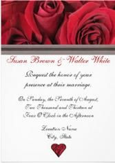 Red Rose Wedding Invitation With Heart And Ribbon Accent Redrosewedding