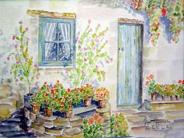 Puit dans la cour l 39 ile de r aquarelle de j lavernhe for Aquarelle maison