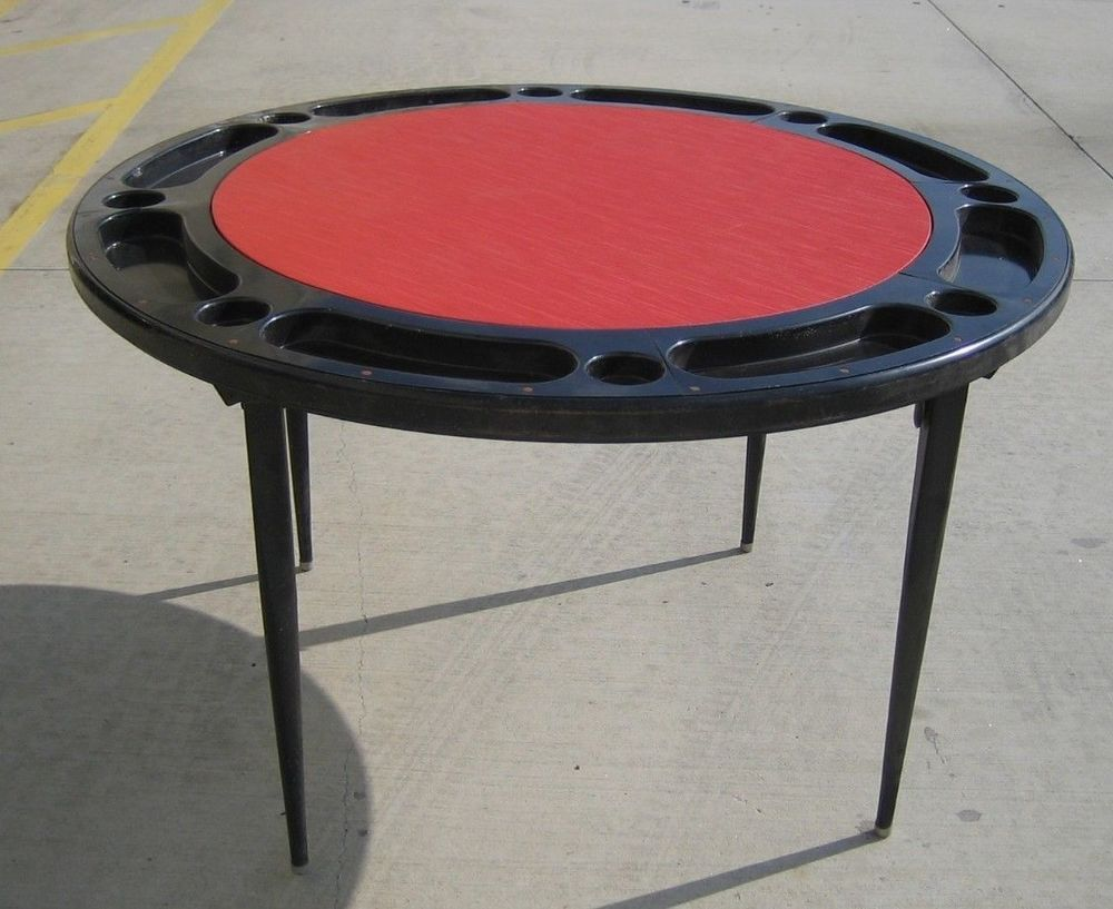 VTG Poker Table Black Metal With Red Vinyl Top Round Folding Card Game  Blackjack US $79.95 Used In Collectibles, Casino, Tables, Layouts