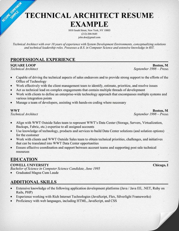 Technical Architect Resume (resumecompanion) Resume Samples