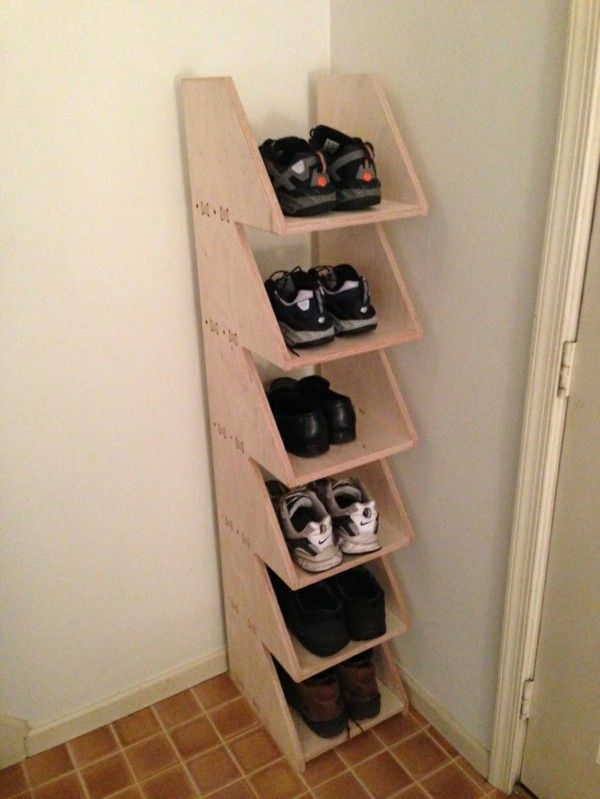 Diy Shoe Rack From Wood In The Corner Diy Shoe Storage Diy Shoe
