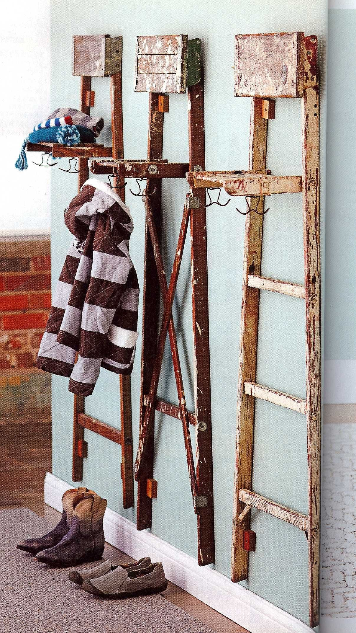 Pin By Amber Chappell On For The Home Upcycle Ladder Ladder Decor Old Ladder