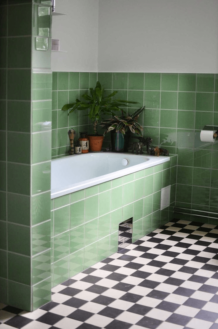 Bathroom With Green 4 Inch Square Tiles