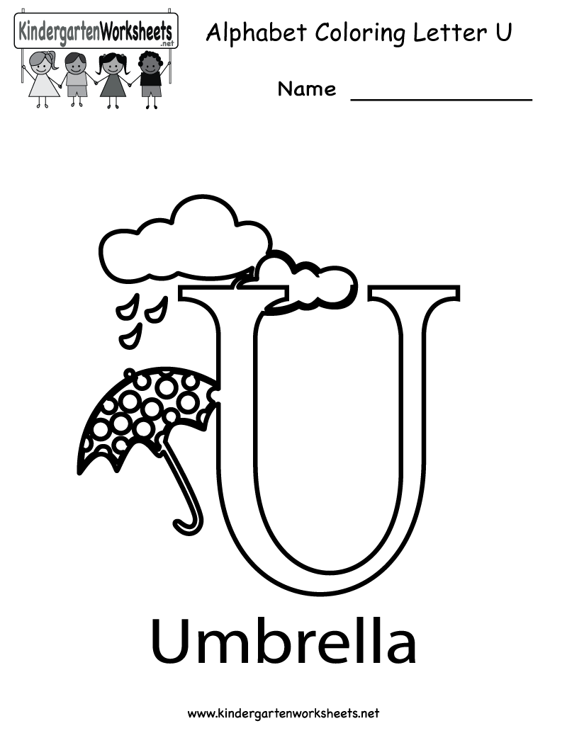 Kindergarten Letter U Coloring Worksheet Printable | Worksheets ...