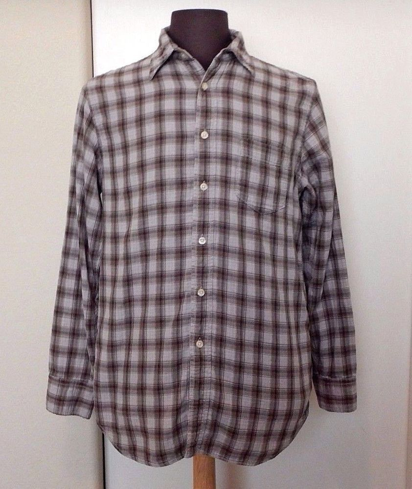 Long Lucky Men's Brand Button Plaid Shirt Sleeve Down Grayish Casual AASw7
