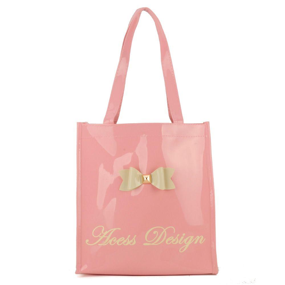 QQ2020 Pink - Bowknot Decoration Patent Large Women Tote Bag Casual Handbag b08676a7dc