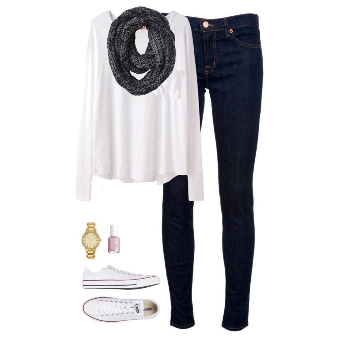 jeans; white blouse; black and white scarf; white tennis shoes