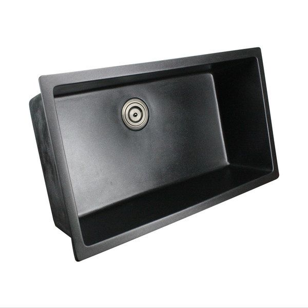 Highpoint Collection Granite Composite 33 Inch Single Bowl Black Undermount Kitchen  Sink (Highpoint 9.5 Deep Black Granite Composite Sink) | Composite ...
