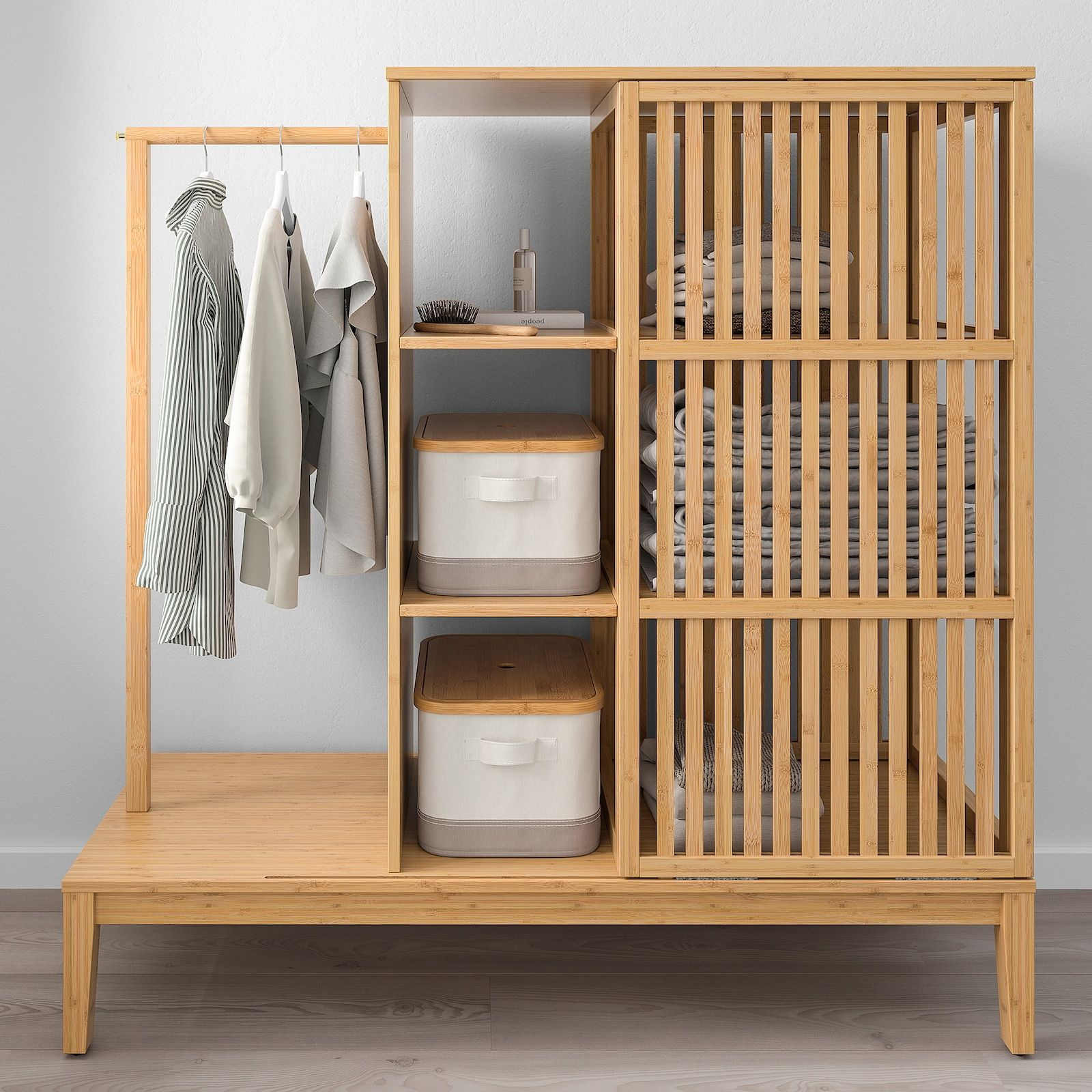 Nordkisa Bamboo Open Wardrobe With Sliding Door Width 120 Cm Height 123 Cm Ikea In 2020 Sliding Wardrobe Doors Open Wardrobe Furniture Design