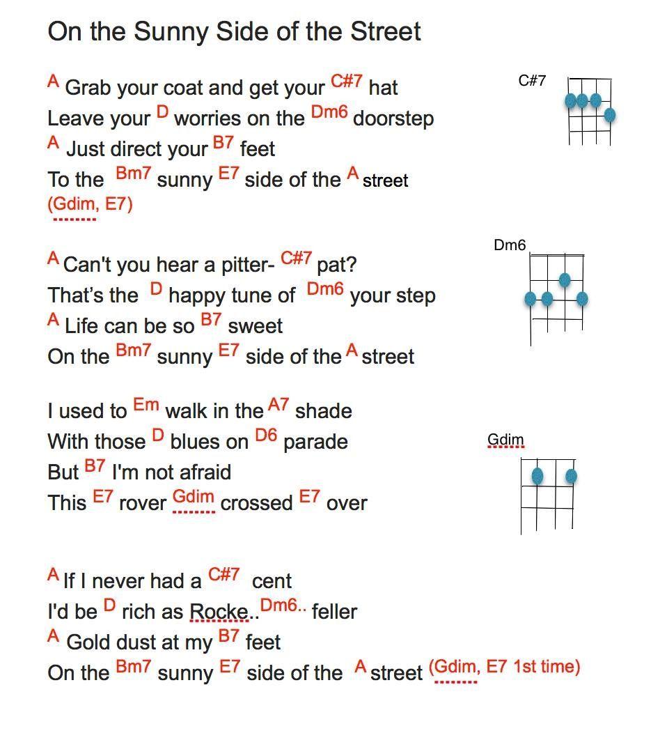 Sunny Side Of The Streetchords Lyrics Music Iansc Pinterest