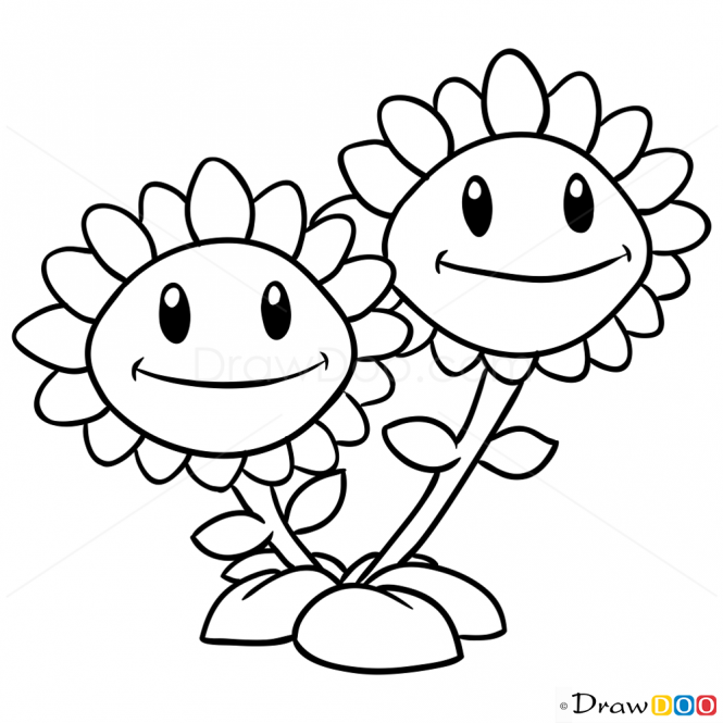 How To Draw Twin Sunflower Plants Vs Zombies How To Draw Drawing Ideas Draw Somethi Sunflower Coloring Pages Plants Vs Zombies Birthday Party Plant Zombie