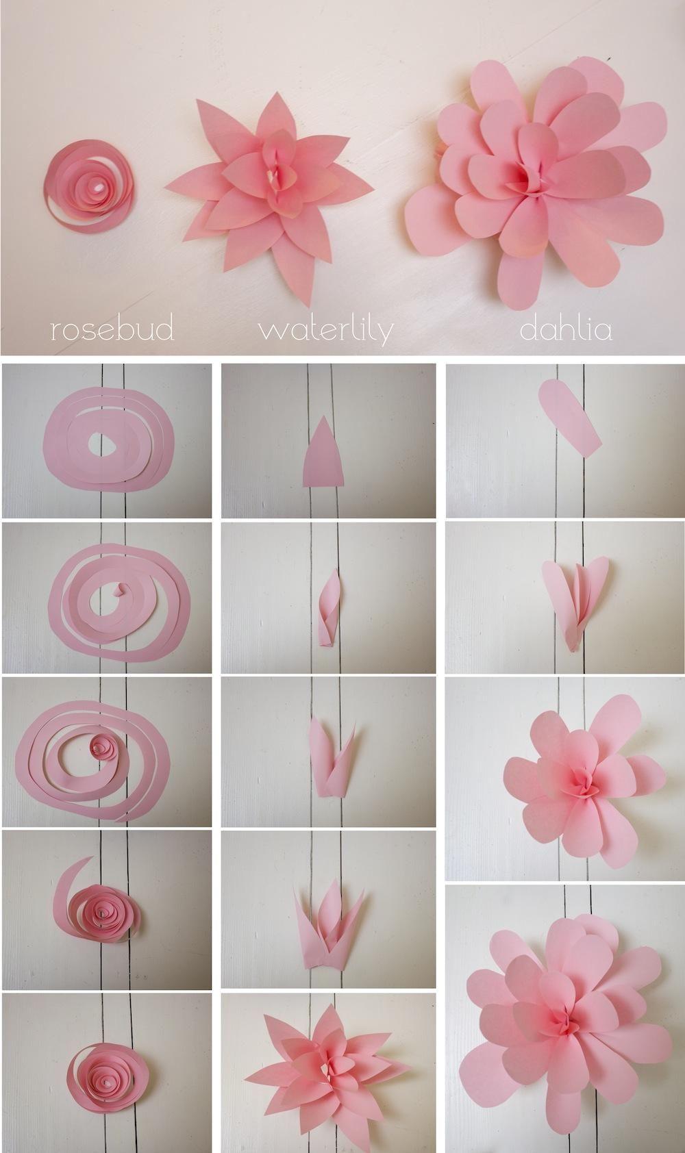 Flor papel rosa simple guirnalda decoracion tutorial diy flower garland decoration party celebration easy cheap modern cool