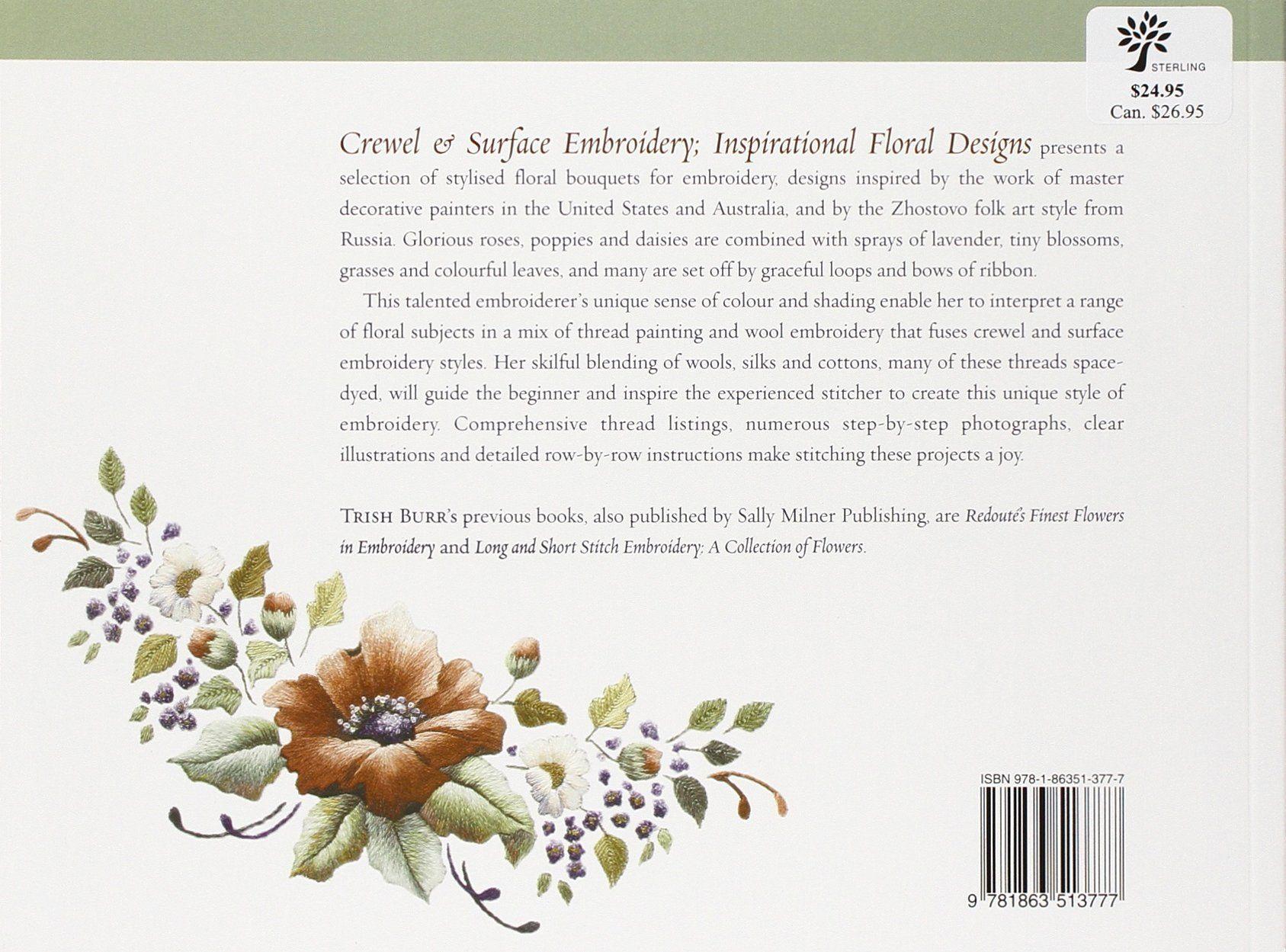 Crewel u surface embroidery inspirational floral designs milner
