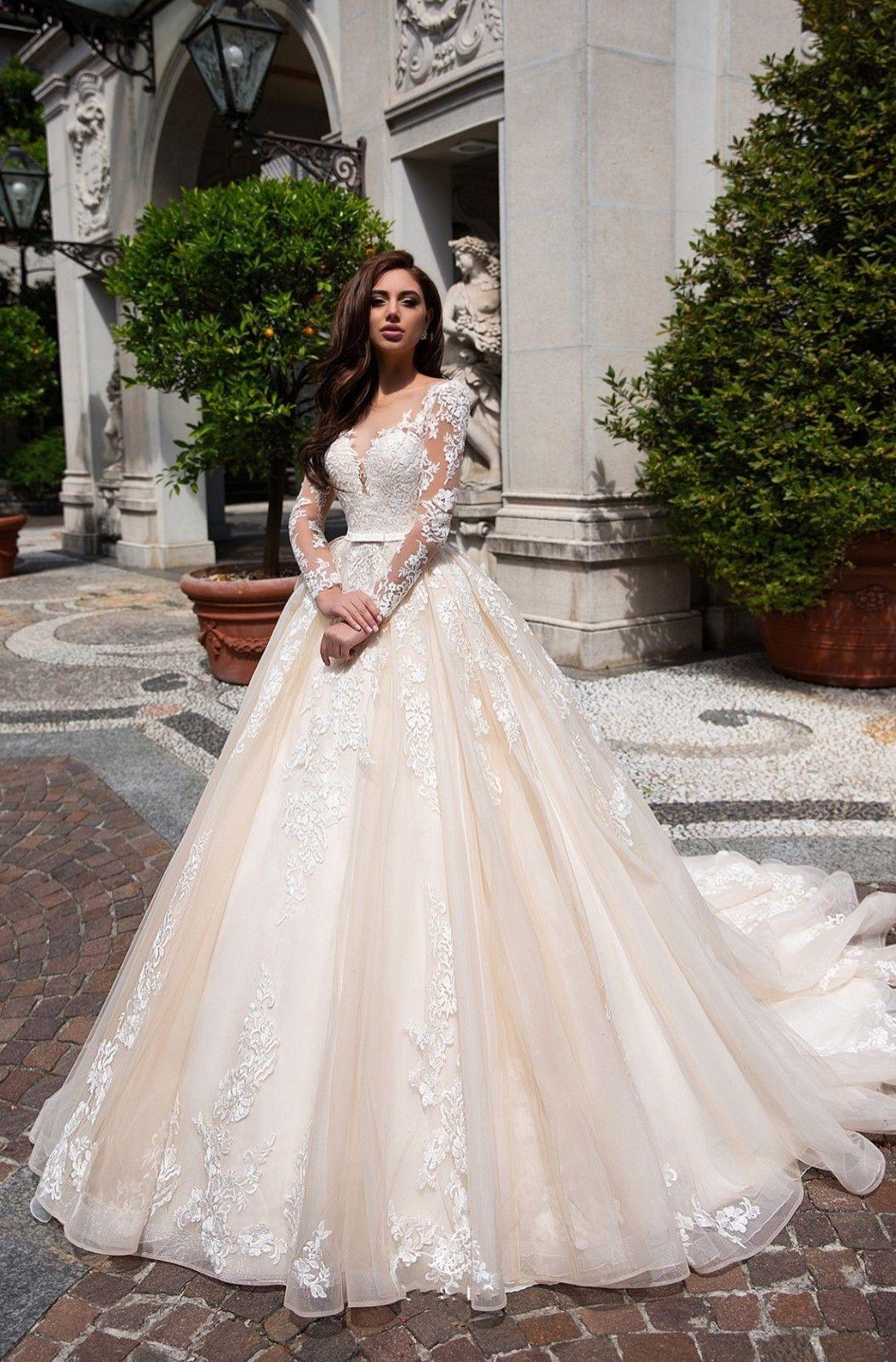 Lace Ball Gown Long Sleeve Wedding Dresses Ivory Wedding Dress Sleeves Ball Gown Wedding Dress Online Wedding Dress