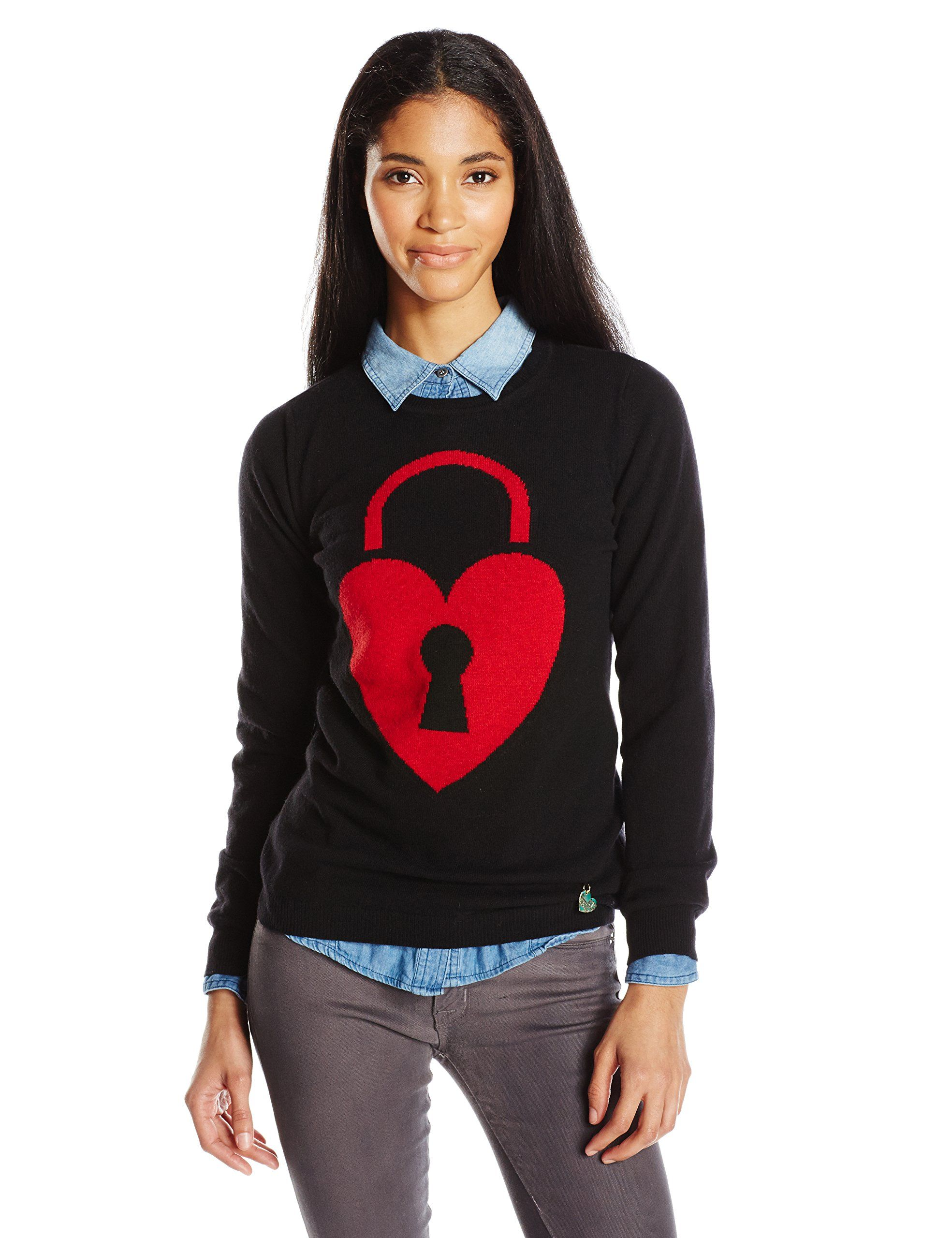 aa632008165 LOVE Moschino Women's Cashmere Blend Heart Lock Print Sweater, Black/Red, 42