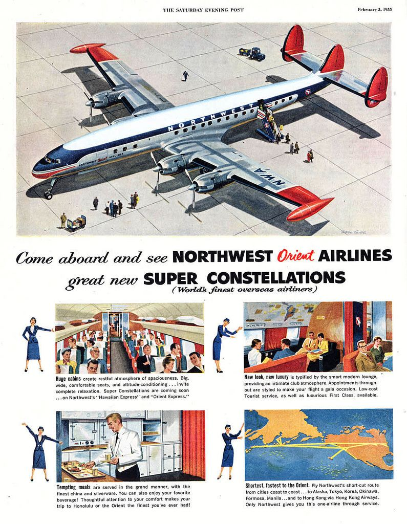 1946 Chicago and Southern Air Lines DC-4 Dixieliner advert | Gun ads ...